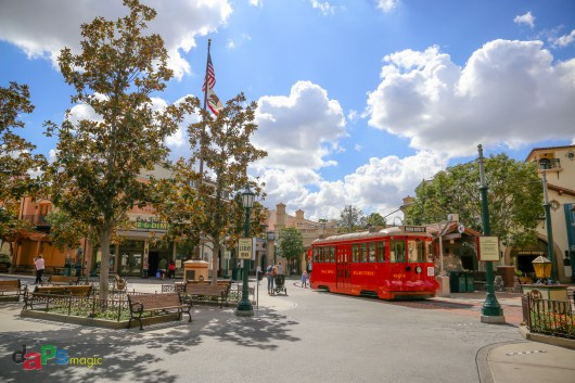 Red Car Trolley at the entrance to Buena Vista Street