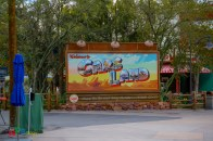 The Cars Land sign currently stands alone as guests cannot enter that far as part of the Buena Vista Street extension of Downtown Disney District