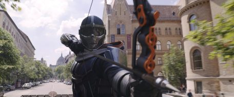 Taskmaster in Marvel Studios' BLACK WIDOW, in theaters and on Disney+ with Premier Access. Photo courtesy of Marvel Studios. ©Marvel Studios 2021. All Rights Reserved.