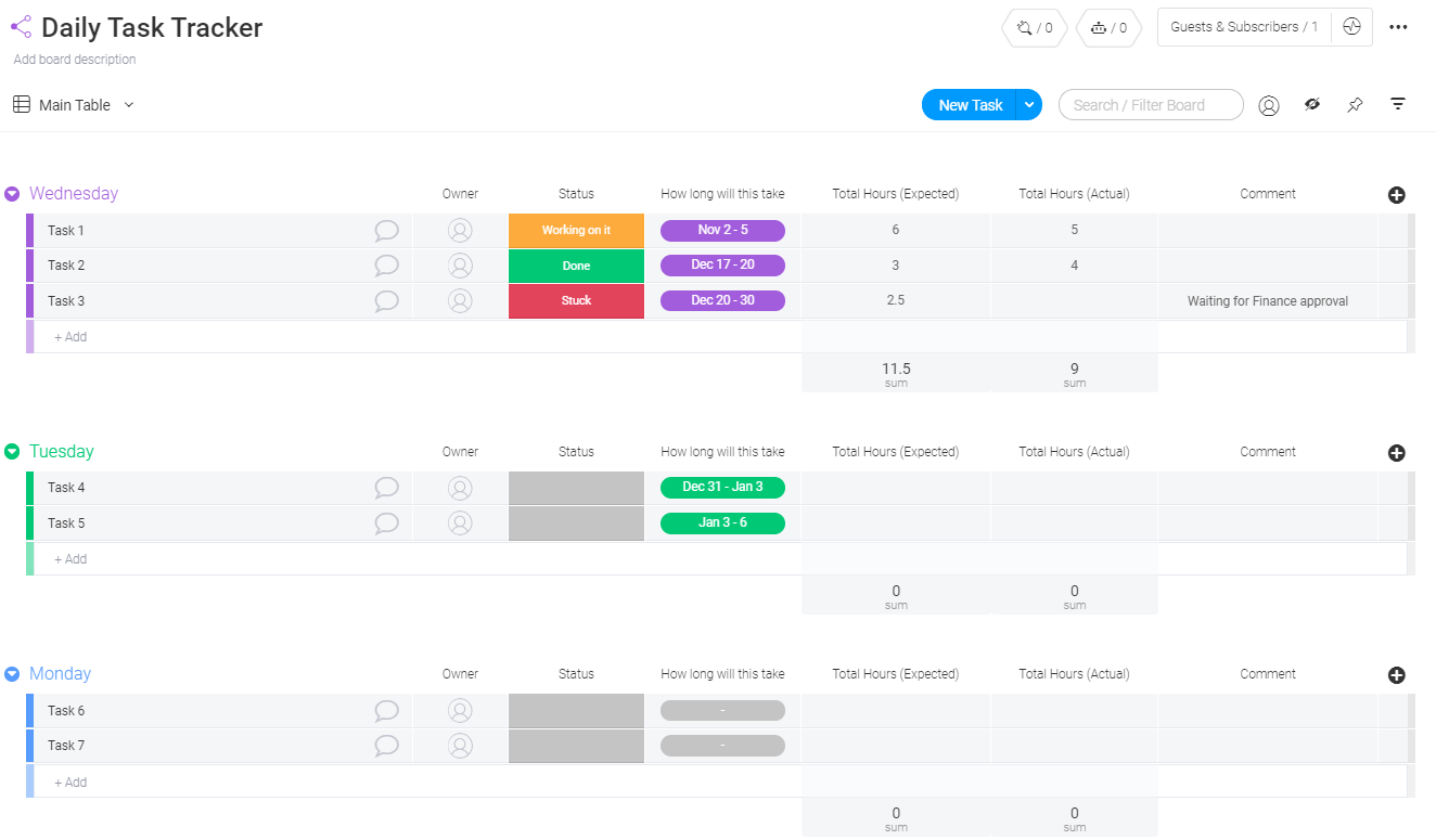 Daily Task Tracker Template