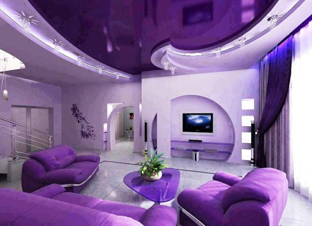 couleur violette salon moderne faux