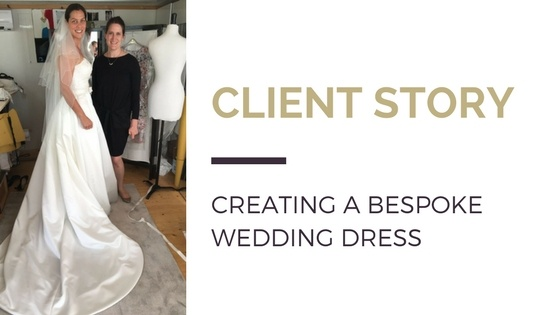 Blog title next to image of women's tailor Dara Ford with a client in her bespoke wedding dress