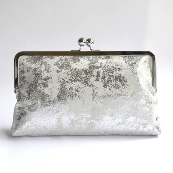rectangular clutch bag with silver kiss lock frame