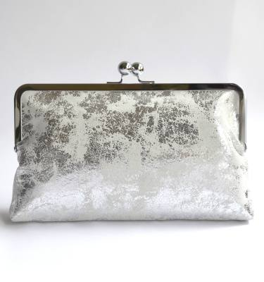rectangular clutch bag with silver kiss lock frame
