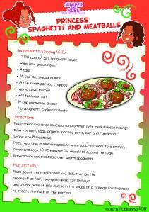 J&R Princess Meatballs Recipe Card