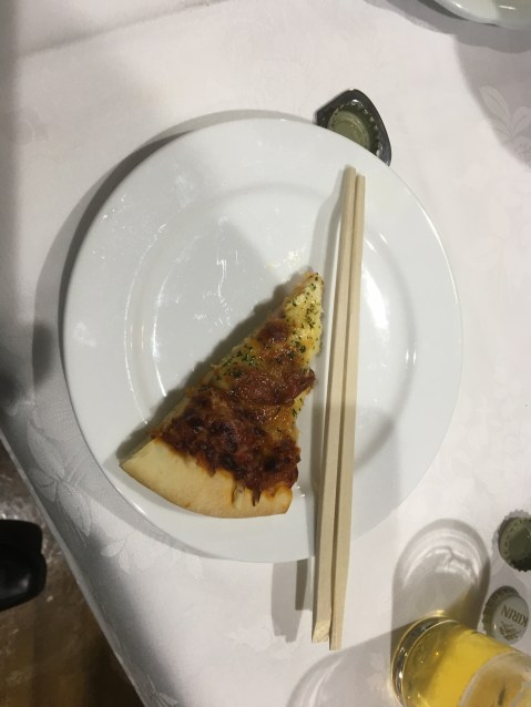 Pizza! WIth chopsticks