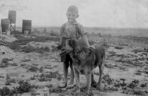 lloyd at farm with rex - 1942