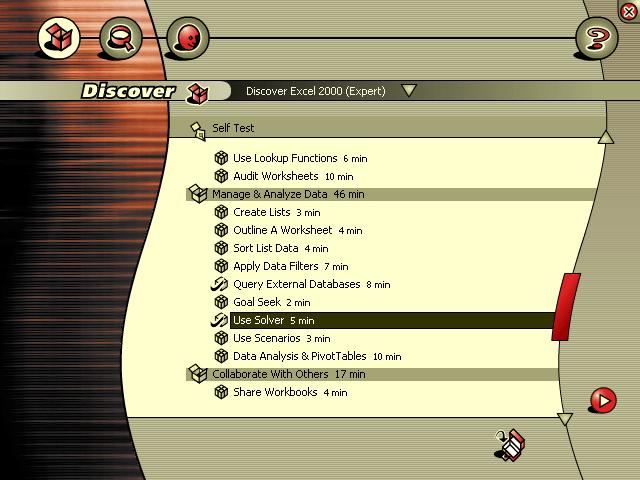 main menu - status indicator