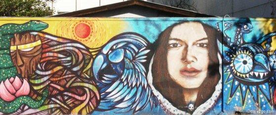 StreetArt Santiago: colourful portrait