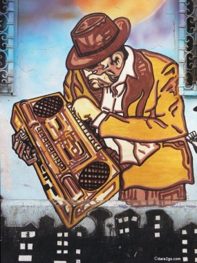 Street Art: guy with boombox