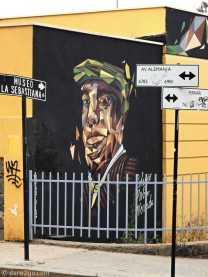 Valparaiso street art: Pablo Neruda (at the corner to his house)