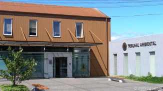 Modern court house with corrugated iron facade.