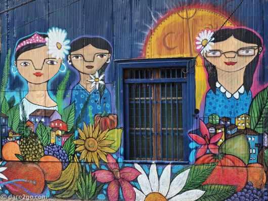 colourful streetart on a shop sidewall