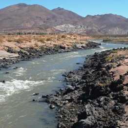 Rio Grande rushing through the lava field downriver from La Pasarela