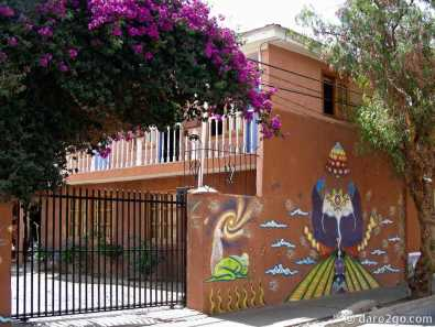 Vicuña: outside wall of the Hostal Aidea del Elqui