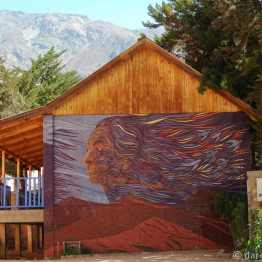 Pisco Elqui, large mosaic on school wall
