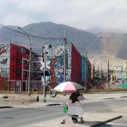 Antofagasta: mosaic facades and colour enhance these plain apartment blocks