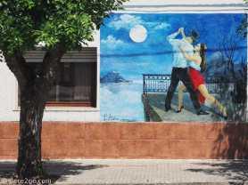 Mural 'Tango in Full Moon', on the main square of Villa 25 de Agosto