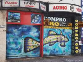 Street Art Buenos Aires: a fish decorates two shop fronts on Calle Libertad