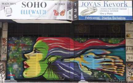 Street Art Buenos Aires: larger shops offer more space to apply urban art