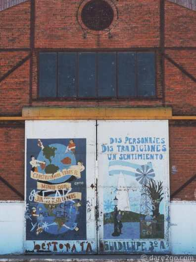 StreetArt Argentina: one of decorations on the large gates of the old port warehouse in Gualeguaychu