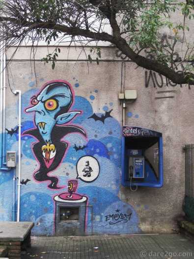 At the end of Calle Yaguaron, Montevideo, I found this small piece of street art next to a phone booth.