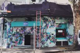 This colourful facade of a coffee shop is right in the heart of the Tristan Narvaja Sunday market in Montevideo.