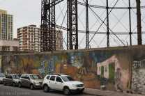 Street Art in the centre of Montevideo: a long wall on the gasometer. Go and have look at it, it's actually a lovely piece! You can see the old gasometer from the Rambla.
