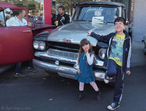 Classic Chevrolet Pick-Up with some silly kids posing in front (neither are ours).