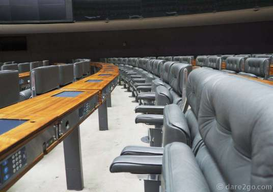 Inside Brazil's Lower House of Representatives: comfy leather chairs and electronic voting panels (with a key lock).