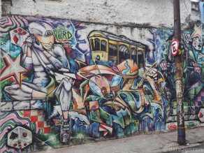 A colourful wall near Lapa Arches, just below Santa Teresa in Rio.