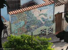 Garden wall with mural