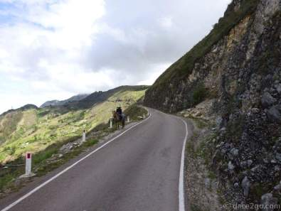 I was grateful that this lone rider stopped on one of the few sections where the road was a little wider.