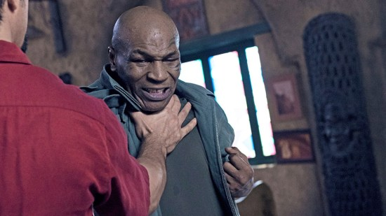Mike Tyson fights Steven Seagal's body double in a scene from China Salesman