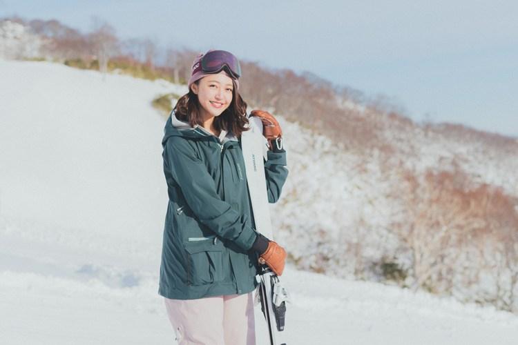 【スキーウエアSNAP】配色がカギ♡ グリーン×ミルキーピンクの程甘コーデ