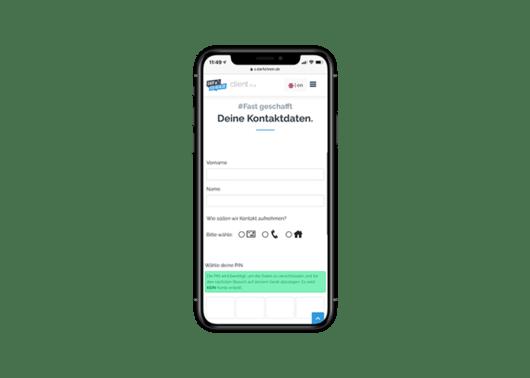 Kontaktdaten eingeben und Check-in Ticket erhalten