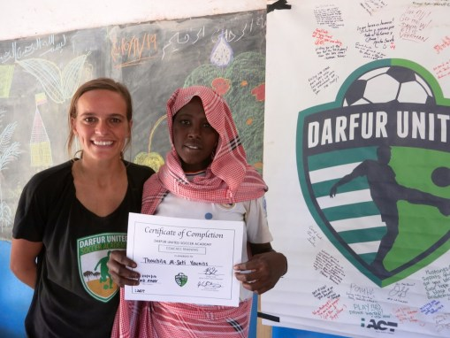 """Thouhilla, age 18, """"I feel so good, and know that I will become a leader in Goz Amer. I hope to travel to other camps one day and help train new coaches."""""""