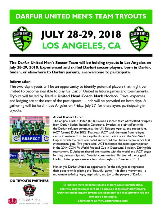 The Darfur United Men's Soccer Team will be holding tryouts in Los Angeles on July 28-29, 2018