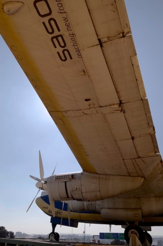 Standing under the Avro on the roof.