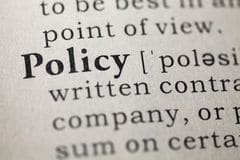 """Photograph of a dictionary entry for the word """"policy"""""""