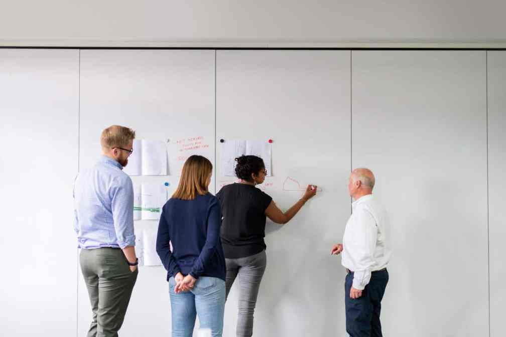 Four people standing at a large whiteboard. A woman is writing on the board, while two men and a woman look on.