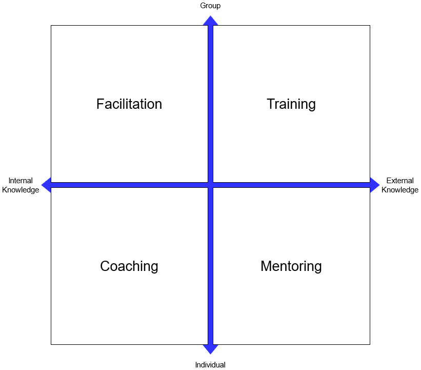 4 quadrant model showing facilitation, training, mentoring and coaching set out depending on whether they are group/individual focus or internal/external knowledge