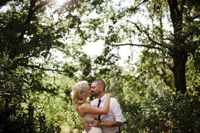 Formal, back lit, Monsalvat wedding.