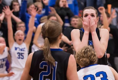 DARIN EPPERLY/DAILY NEWS -- NORFOLK -- Abigail Van Dyke of Ponca looks on in disbelief after the Lady Indians lost to Wynot at the buzzer during the Lewis & Clark Conference championship game on Monday night in Laurel. 2-6-17