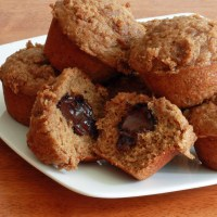 Whole Wheat Banana Buttermilk Truffle Muffins
