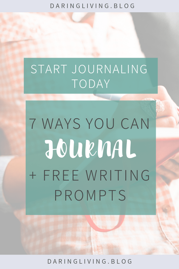Ever wanted to know how to start journaling as a way to practice expressing yourself? One of the benefits of journaling is self awareness and self discovery. In this post I'm sharing some easy ideas/ inspiration to help you get started. You can also download free guided writing prompts to help you learn more about yourself. #daringliving #journaling #writingprompt #personaldevelopment #selfgrowth #selfdiscovery