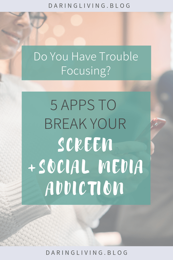 Do you have trouble focusing? Here are 5 apps + tools that helped me to be more mindful and intentional when using social media and stopped my cell phone addiction so I can focus on real life relationships and stay productive at work. #daringliving #phoneaddicition #socialmedia #mindfulness #personaldevelopment #livewithintention #lifestyledesign