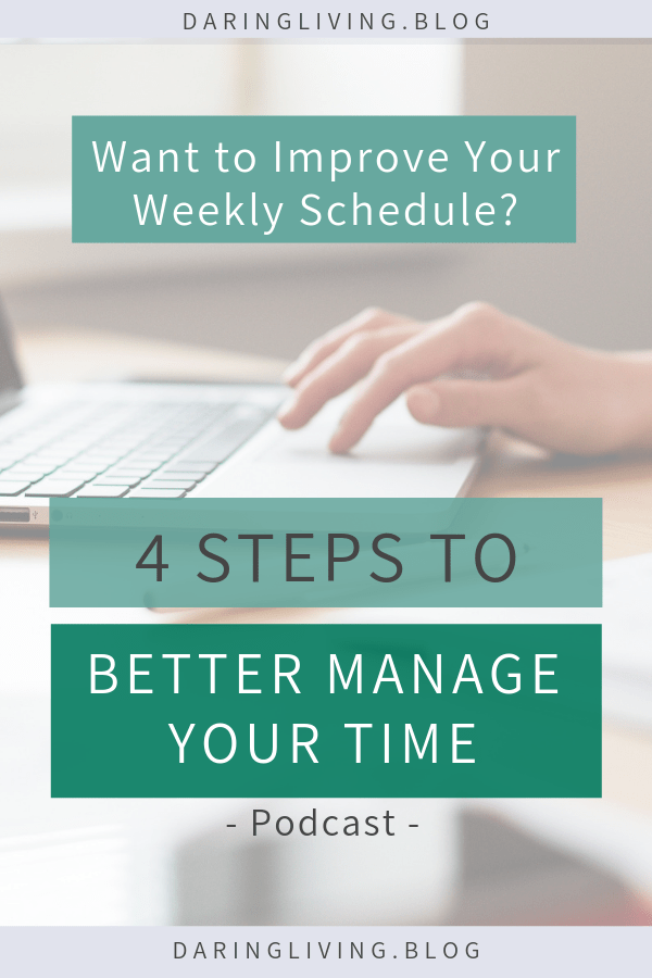 In this episode, we discuss why we should identify our priorities instead of learning to manage and balance our time. These simple, but actionable tips and steps will create a better schedule for your week so you can improve you time management skills and strategies. Daring Living podcast #daringliving #timemanagement #lifestyledesign #personalgrowth #personaldevelopment #selfdevelopment #habits #routines #productivity #podcast