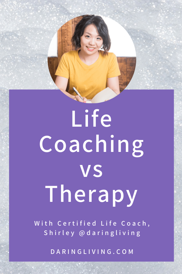 What is the difference between therapy vs life coaching? Therapy is more about healing, whereas coaching is about going to the next level and moving forward in your life. #daringliving #lifecoaching