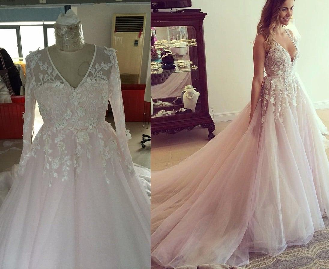 Blush Colored Plus Size Wedding Gown With Long Sleeves